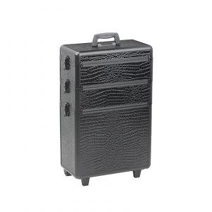Sibel - Aluminium Kapperskoffer - Zwart Croco Motief - 63x36x22 cm