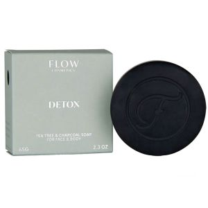 Flow - Detox Tea Tree & Charcoal Soap For Face & Body - 120 gr