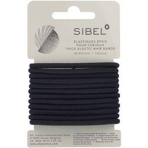 Sibel - Thick Elastic Hair Bands - Black - 12 Stuks