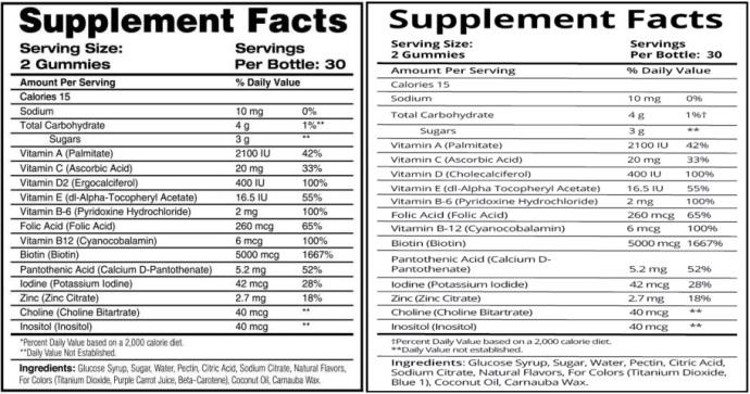 SweetBunnyHare versus SugarBearHair Ingrediënten